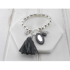 Grey Tassel, Crystal and Acrylic Disc Bracelet