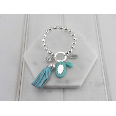Turquoise Tassel, Crystal and Acrylic Disc Bracelet