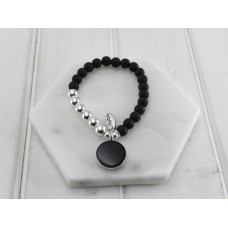 Black Beads With Round Disc Pendant Bracelet