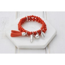 2 Rows of Coral Beads With Tassel and Heart Bracelet