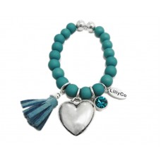 Blue Beads With Heart and Tassel Bracelet