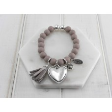 Grey Beads With Heart and Tassel Bracelet