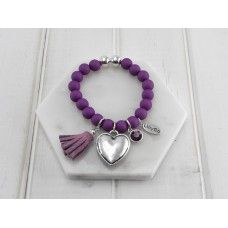 Purple Beads With Heart and Tassel Bracelet