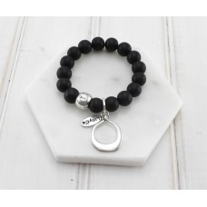 Black Beads With Silver Ring Pendant Bracelet