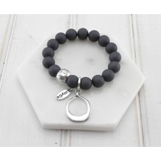 Charcoal Beads With Silver Ring Pendant Bracelet