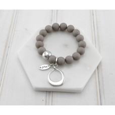 Grey Beads With Silver Ring Pendant Bracelet