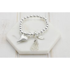 Silver Beads With Tassel and Grey Heart Bracelet