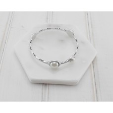 Silver and Pearls Bangle