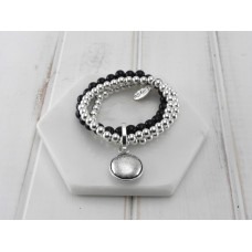 Black and Silver Beads With Disc Pendant Bracelet