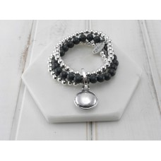 Grey and Silver Beads With Disc Pendant Bracelet