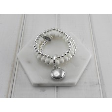 White and Silver Beads With Disc Pendant Bracelet