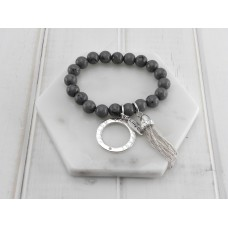 Grey Resin Beads With Silver Tassel Bracelet