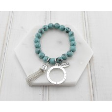 Turquoise Resin Beads With Silver Tassel Bracelet