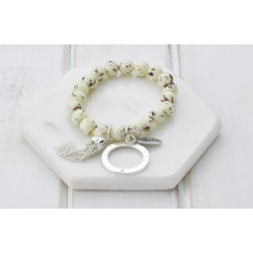 White Resin Beads With Silver Tassel Bracelet