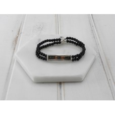 "Black Beads ""Live Laugh Love"" Bracelet"