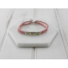 "Pink Beads ""Live Laugh Love"" Bracelet"