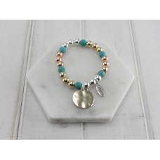 Turquoise/Gold/Silver w Disc Bracelet