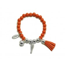 Coral and Silver Beads With Silver Tassel and Heart Bracelet