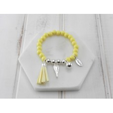 Yellow and Silver Beads With Silver Tassel and Heart Bracelet