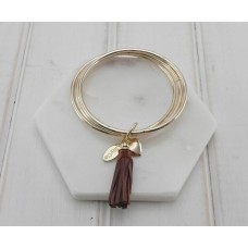 Coffee Leather Tassel Pendant on Gold Bangles