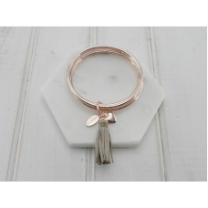 Beige Leather Tassel Pendant on Rose Gold Bangles