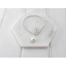 Silver Fine Bead with Pearl Bracelet