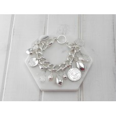 Silver and Pearl Charm Bracelet