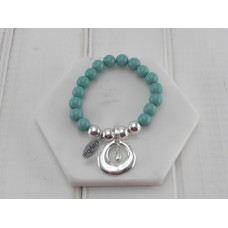 Turquoise Resin Beads with Silver Ring and Tear Drop Pendant Bracelet