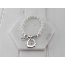 White Resin Beads with Silver Ring and Tear Drop Pendant Bracelet