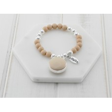 Beige Resin and Silver Bead Bracelet
