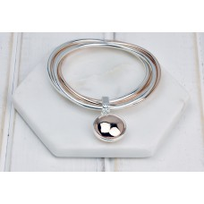 Mixed Silver & Rose Gold with Disc 3 Bangle