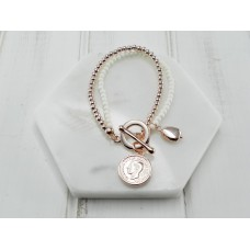 Cream Beads with Rose Gold Coin Bracelet