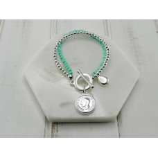 Duck Egg Beads with Silver Coin Bracelet