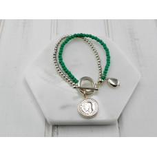 Green Beads with Gold Coin Bracelet