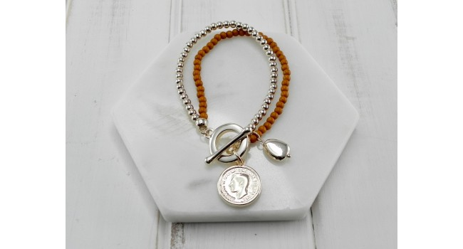 Orange Beads with Gold Coin Bracelet