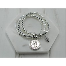 Silver/Rose Gold Coin with Silver Beads Bracelet