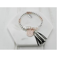 Rose Gold Tassel & Rose Gold Silver Disc Bracelet