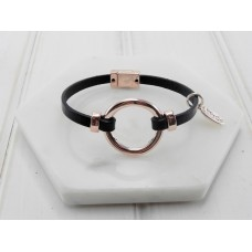 Black Leather Rose Ring Bracelet