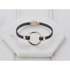 Grey Leather & Rose Ring Bracelet