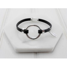 Black Leather & Silver Ring Bracelet