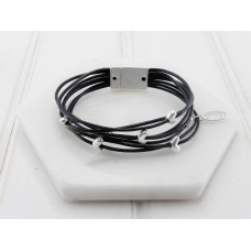 Matt Silver & Black Leather Bracelet