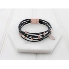 Matt Rose Gold & Leather Bracelet