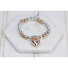 Rose Gold and Silver Mixed Heart Bracelet