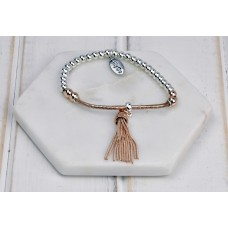 Rose Gold and Silver Bar Tassel Bracelet