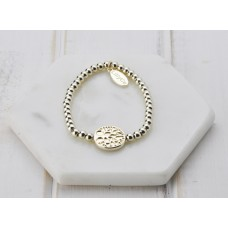 Gold With Tree Disc Bracelet