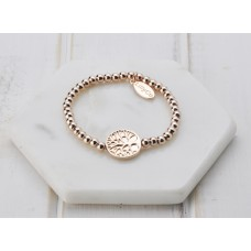 Rose Gold With Tree Disc Bracelet