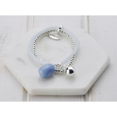 Silver & Blue Glass Bead Bracelet