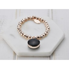 Rose Gold with Black Resin Pendant Bracelet