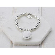 Silver with White Resin Pendant Bracelet