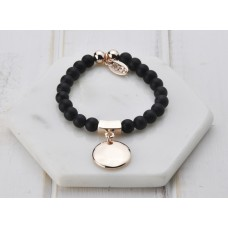 Black Beads & Rose Disc Bracelet
